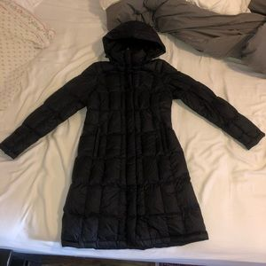 North Face black long coat